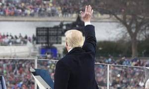 Donald Trump waves after his inaugural address.