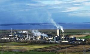 A CF Fertilisers UK Ltd factory seen next to Frodsham Wind Farm from Helsby Hill, Cheshire