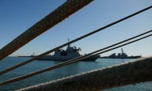 The Spanish naval vessel Audaz departs from Cadiz.