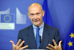 Former World Trade Organization chief Pascal Lamy speaks during a news conference in Brussels.