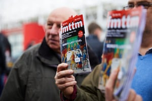 Boro fanzine Fly Me to the Moon on sale outside the stadium.