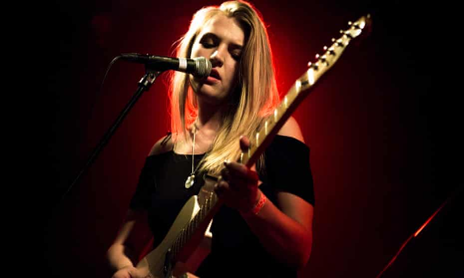 Rebecca Taylor of Slow Club performs on stage at Brudenell Social Club in Leeds.