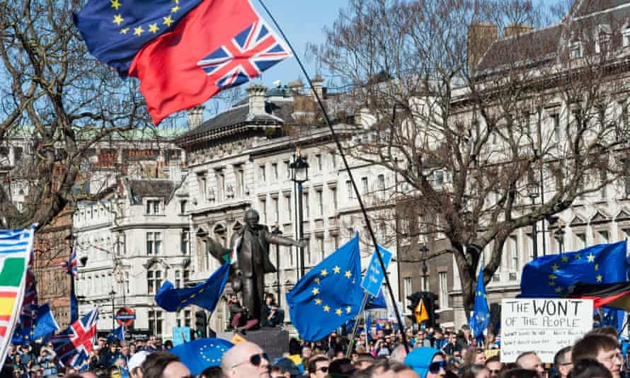 Thousands of pro-EU supporters march in Unite For Europe rally in London