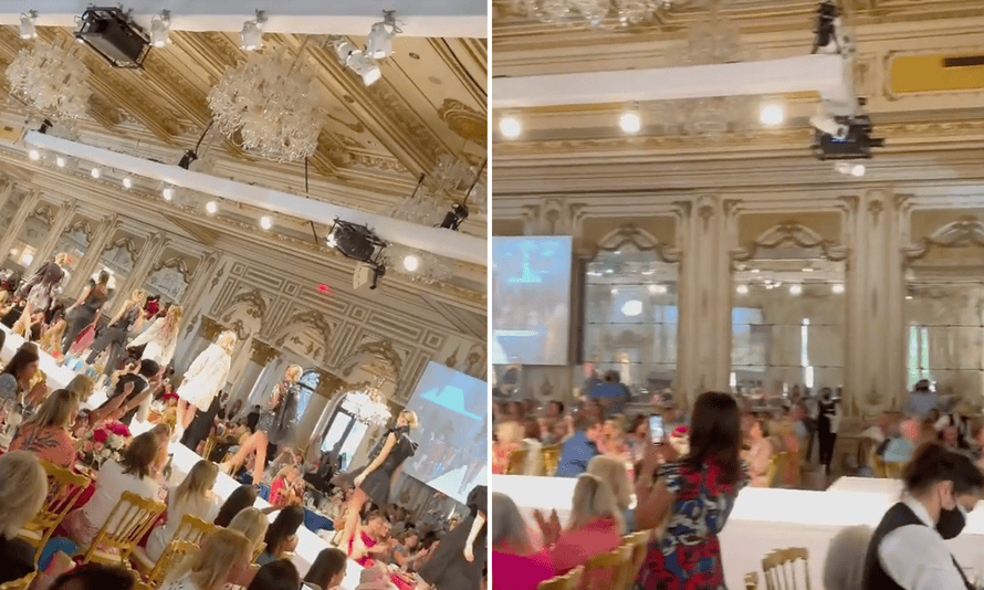 In one video uploaded by an Instagram user, a busy fashion show takes place at Mar-a-Lago