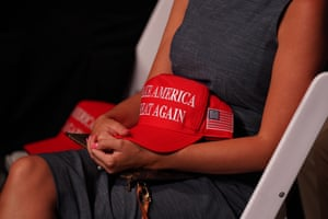 A woman in the audience with her Maga hat during closing night of the Republican convention.