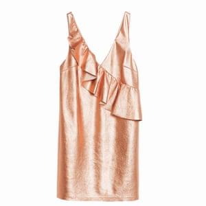 Sleeveless pink metallic dress with frill on front, Zara
