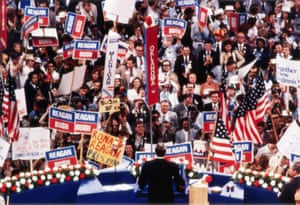 Ronald Reagan makes a speech at the Republican National Convention in Detroit, Michigan in July 1980.