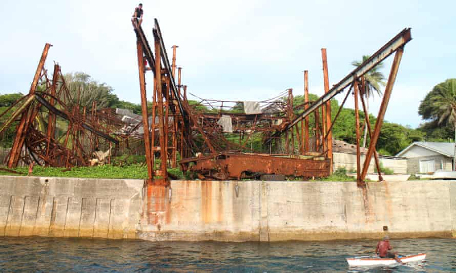 The old cantilever that used to load phosphate onto the ships.Banaba, central Pacific island, Kiribati.