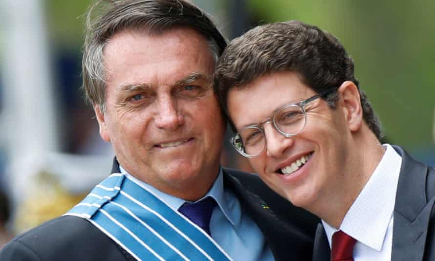 Brazil's President Jair Bolsonaro cosies up to his environment minister, Ricardo Salles