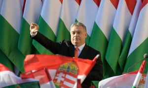 Viktor Orbán salutes supporters at a Fidesz party rally before the Hungarian party rally last month.