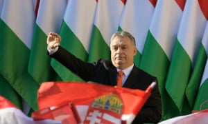 Prime minister Orbán at an election rally in Budapest.