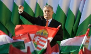President of the ruling Fidesz party, Prime Minister Viktor Orban waves as he attends the final electoral rally of Fidesz in Szekesfehervar, some 63km southwest of Budapest, Hungary, 06 April 2018.