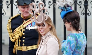 Turkey Twizzler? Princess Beatrice, left, in a beige Philip Treacy hat at the royal wedding, 2011.