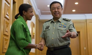 Susan Rice with Fan Changlong at the Chinese Ministry of National Defense in Beijing on August 28 during a visit aimed at resolving tensions over cyber attacks.