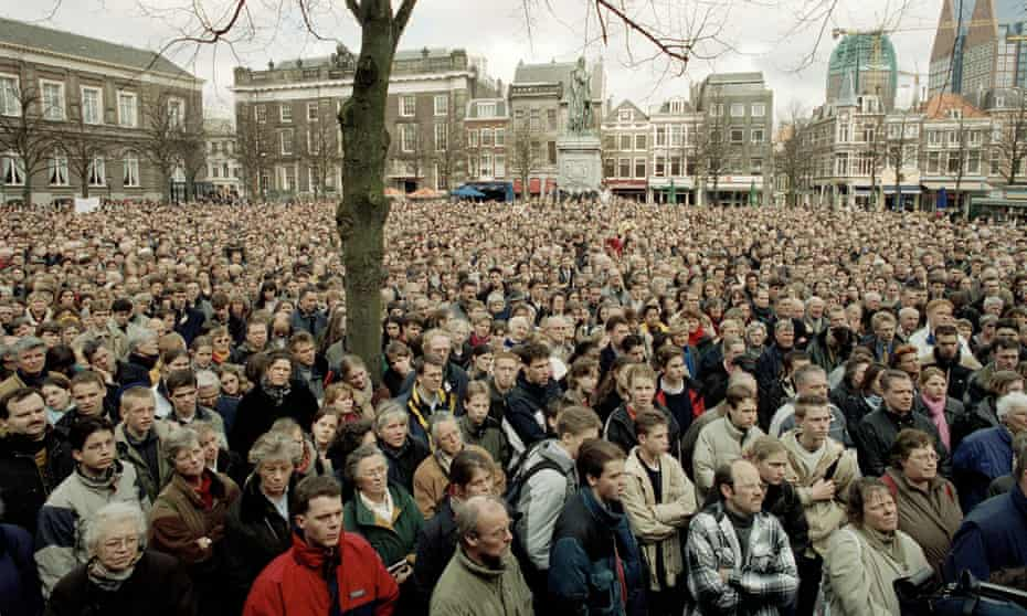 Protesters in the Hague in 2001, while the Dutch government was debating the legalisation of euthanasia, which passed in 2002.