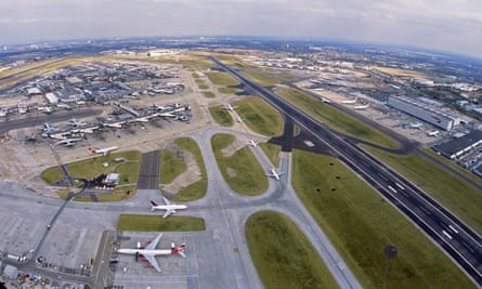 An aerial view of Heathrow airport's southern runway.
