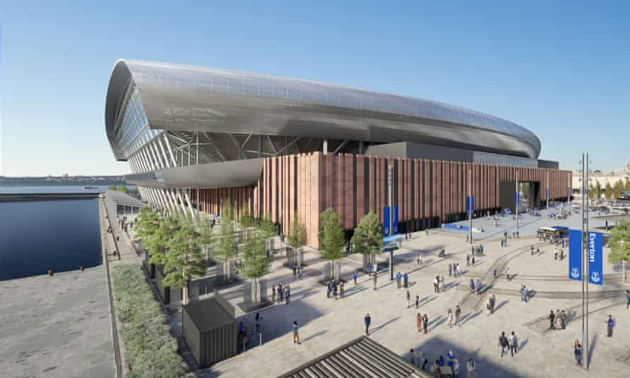 An artist's impression of Everton's proposed new stadium at Bramley Moore Dock on Liverpool's waterfront. The stadium would take an estimated three years to build.