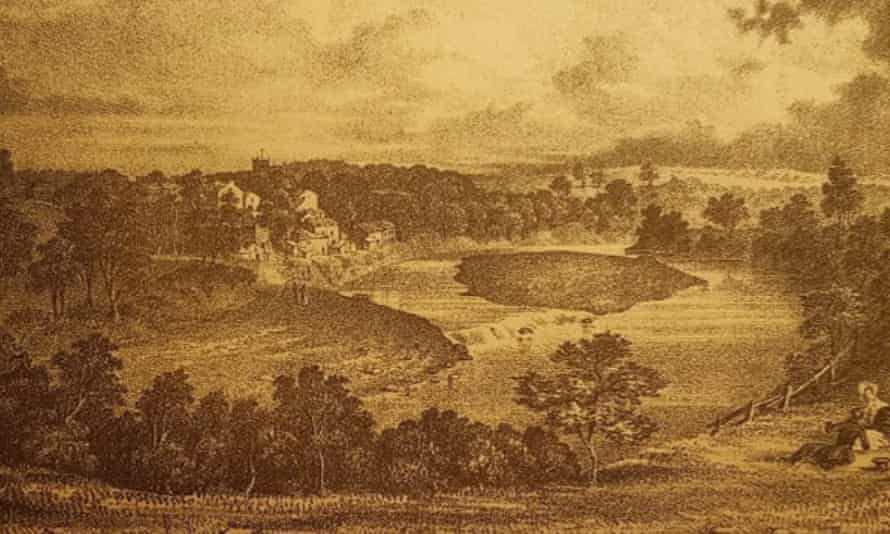 A view towards the industrial area of Kirkby Lonsdale in an etching dated 1849.