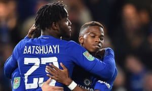 Michy Batshuayi celebrates scoring his second and Chelsea's fourth goal in the Carabao Cup tie against Nottingham Forest.