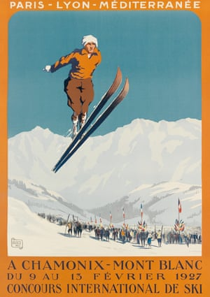 Chamonix-Mont Blanc, the 1927 ski poster design by 'Alo' (Charles Hallo/1884-1969), depicts an early view of ski jumping with a particularly appealing colour palette