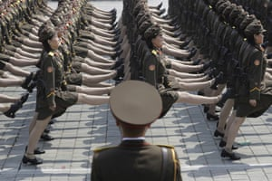 North Korean female soldiers take part in a military parade