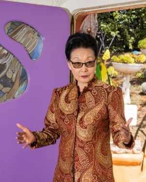 Portraits of the Flintstones House owner Florence Fang in the front entry of her home in Hillsborough, CA on April 19, 2019. Photographs by Cayce Clifford