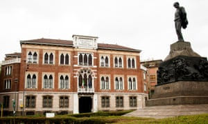 Casa Verdi in Milan with the composer's statue outside