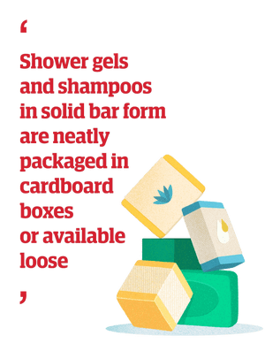 Quote: 'Shower gels and shampoos in solid bar form are neatly packaged in cardboard boxes or available loose'