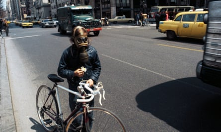A cyclist marks Earth Day 1970 on 5th Avenue in New York.
