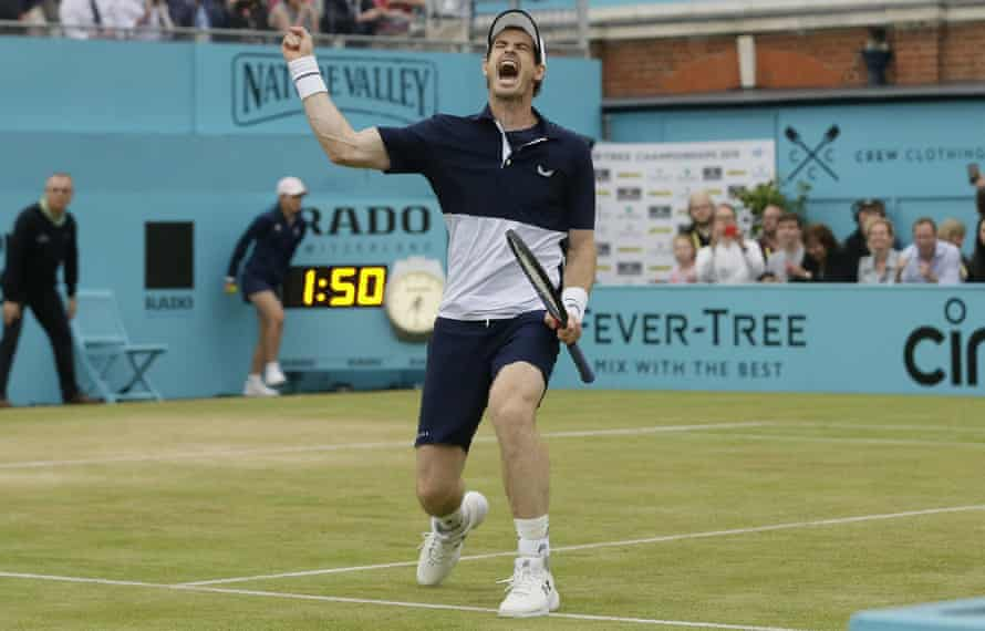 Andy Murray of Britain celebrates winning the men's doubles final tennis match with Feliciano Lopez of Spain against Joe Salisbury of Britain and the Rajeev Ram of the United States at the Queens Club tennis tournament in London, Sunday June 23, 2019.