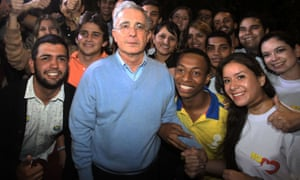 Alvaro Uribe, who led the No campaign, with his supporters after voters rejected the peace deal earlier this month.