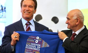 Yevgeny Yasin with Arnold Schwarzenegger