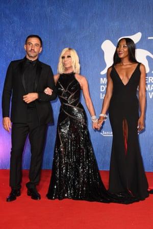 Riccardo Tisci, Donatella Versace and Naomi Campbell at the 73rd Venice film festival last September.