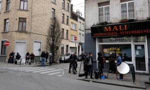 The press in front of the safe house in Molenbeek where Paris terror suspect Salah Abdeslam was captured by police