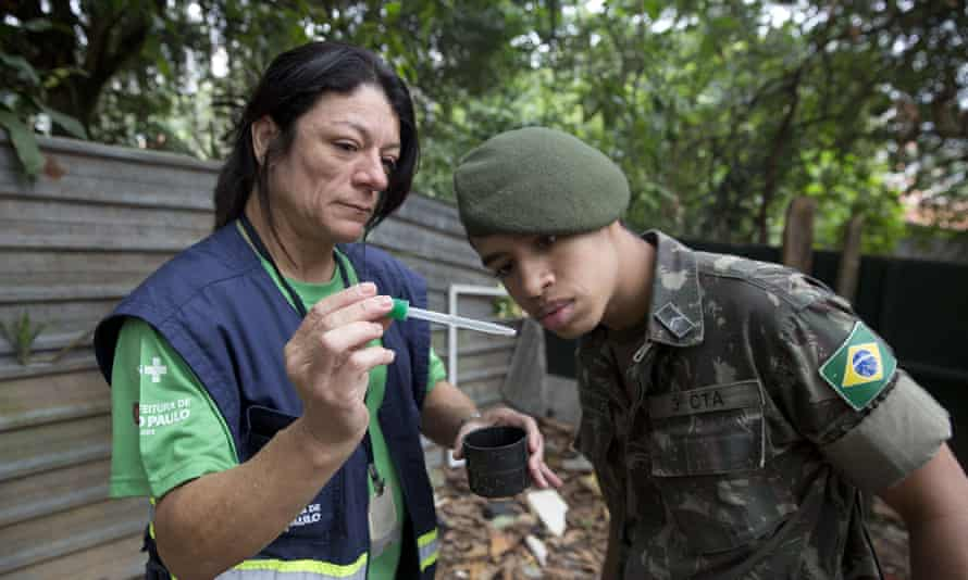 A health agent shows a soldier <em>Aedes aegypti </em>mosquito larvae that she found during a clean-up operation against the insect, in Sao Paulo, Brazil.