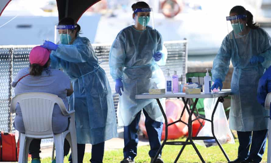 A pop-up coronavirus testing clinic at Rushcutters Bay in Sydney in July 2020.
