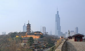 The Jiming Temple and the Nanjing skyline.