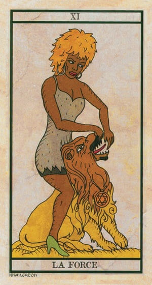 Strength (The Black Power Tarot), 2015, Michael Eaton and AA King KhanA collaboration between artist Michael Eaton and musician AA King Khan, this modern deck replaces traditional archetypes with iconic African American musicians and artists