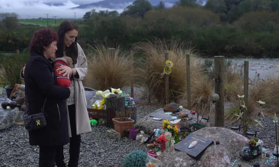 Jacinda Ardern at a memorial for the Pike River miners