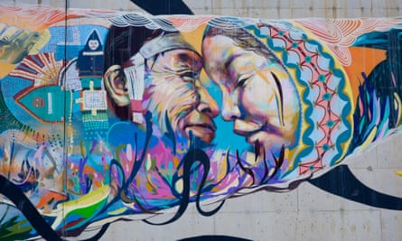 Graffiti along the walls leading up to a hospital in Iqaluit.