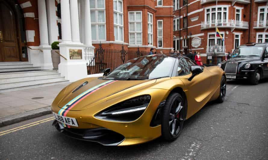 Gold McLaren in Knightsbridge In London