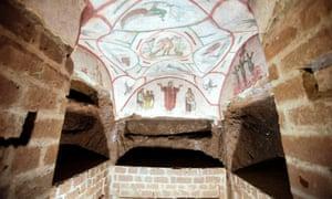 A fresco in the restored Catacombs of Priscilla, Rome.