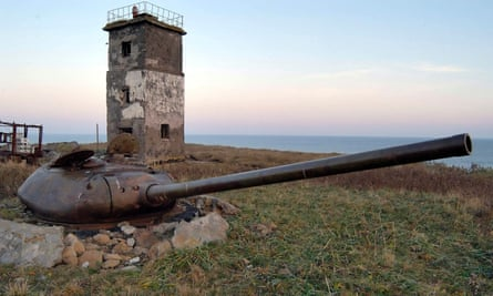 The turret of an old tank on Kunashir Island, one of the Kuril Islands. The Russian government is looking at plans to build a naval base on the islands whose sovereignty is disputed by Japan.