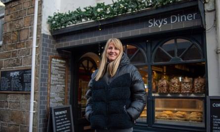 Sarah Allen outside her cafe Sky's Diner in St Ives.