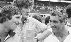 Bob Willis, centre, with Ian Botham, left, and Mike Brearley in 1979.