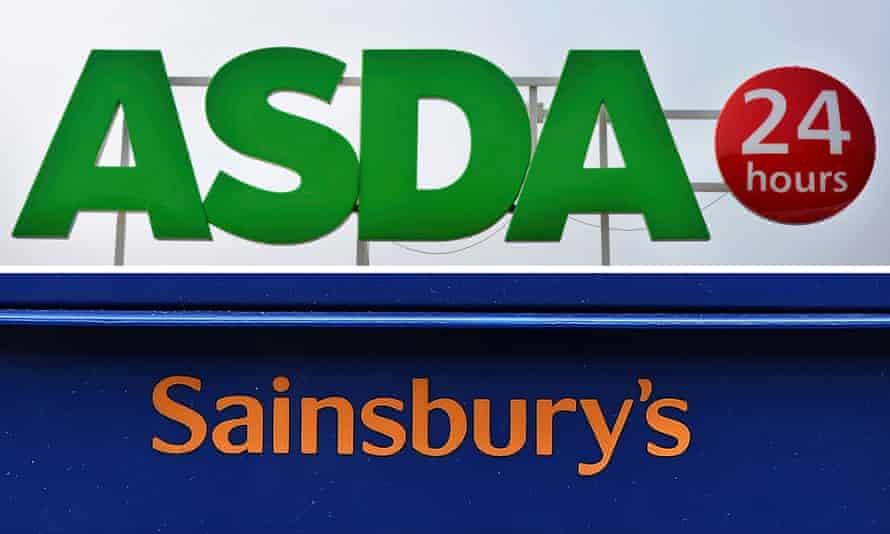 Asda and Sainsbury's store signs