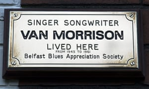 Van Morrison plaque on his childhood home in Hyndford Street, Belfast