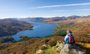 Loch Katrine from Ben A'an, Lake Lomond and the Trossachs national park, Scotland.