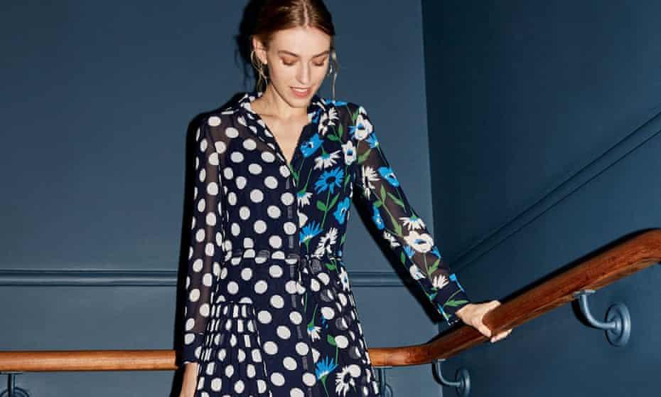 Gabriella spot print pleated dress by Kitri.