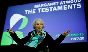 'This one was not arranged' … Margaret Atwood at a 2019 launch of The Testaments, her sequel to The Handmaid's Tale.